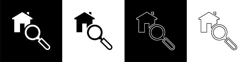 Set Search house icon isolated on black and white background. Real estate symbol of a house under magnifying glass. Vector