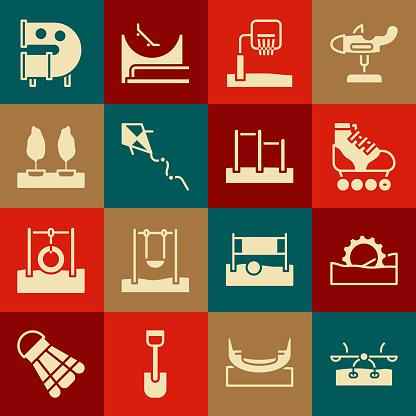 Set Seesaw, Ferris wheel, Roller skate, Basketball backboard, Kite, Forest, Kid playground slide pipe and Horizontal bar icon. Vector