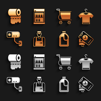 Set Seller, T-shirt, POS terminal, Bottle for cleaning agent, Security camera, Shopping cart, Toilet paper roll and Commercial refrigerator icon. Vector