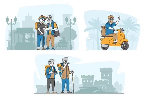 Set Senior Tourists in Foreign City Searching Place with Map, Using Camera for Making Photo, Riding Scooter, Traveling