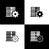Set Server setting icons isolated on black and white background. Line, outline and linear icon. Vector Illustration