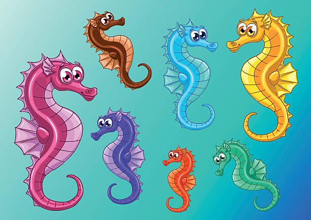Bекторная иллюстрация Набор из семи переливающимися море лошади на голубой