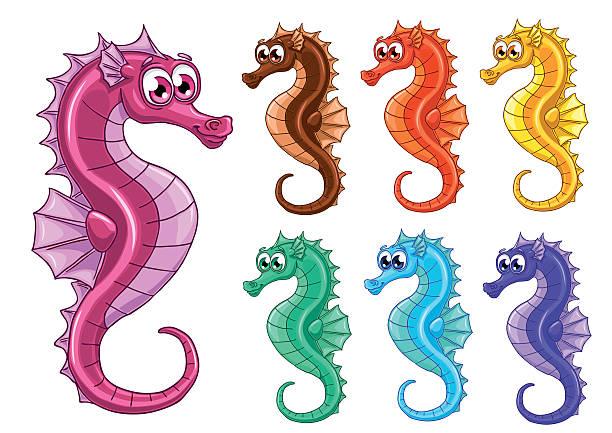 Bекторная иллюстрация Set seven iridescent sea horses on white