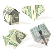 Set shapes from dollar banknotes isolated on white background. Vector moneygami.