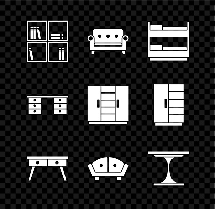 Set Shelf with books, Sofa, Bunk bed, Office desk, Round table, and Wardrobe icon. Vector