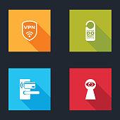 istock Set Shield with VPN wireless, Please do not disturb, Digital door lock and Keyhole eye icon. Vector 1269381654