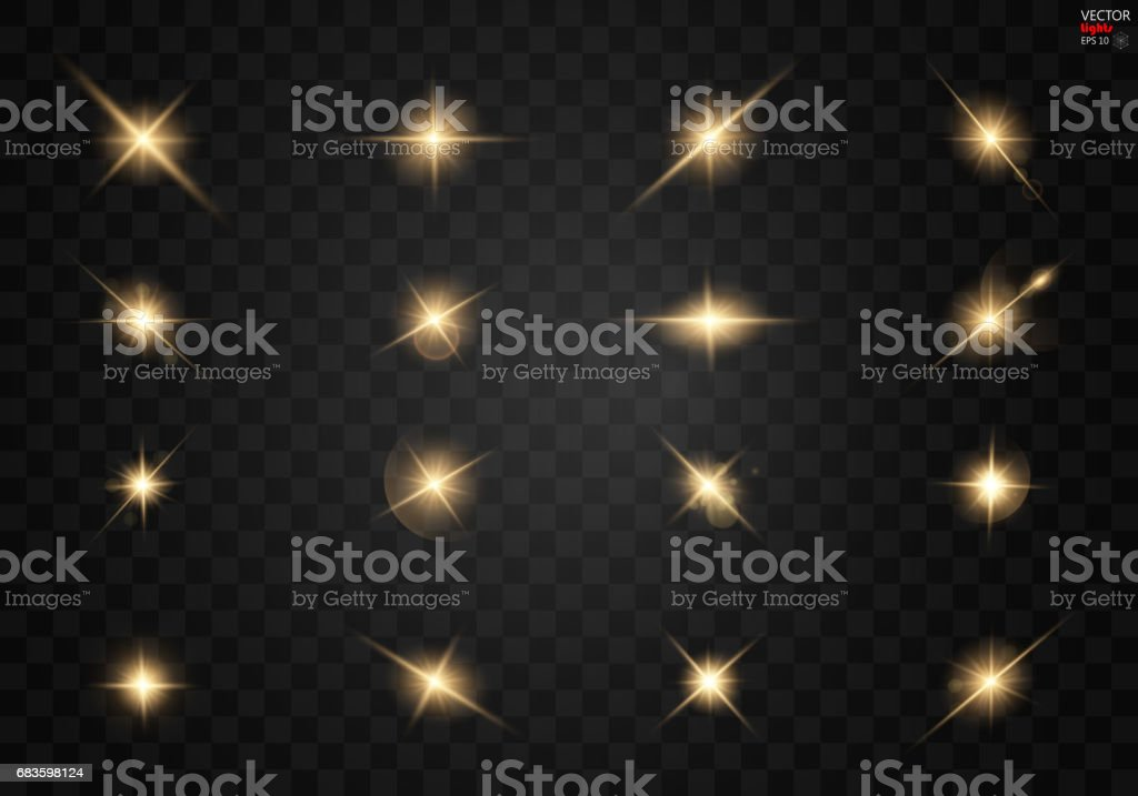 Set. Shining star, the sun particles and sparks with a highlight effect, golden bokeh lights glitter and sequins. On a dark background transparent. vector art illustration