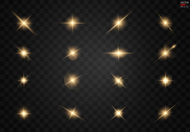 set. shining star, the sun particles and sparks with a highlight effect, golden bokeh lights glitter and sequins. on a dark background transparent. - shiny stock illustrations, clip art, cartoons, & icons
