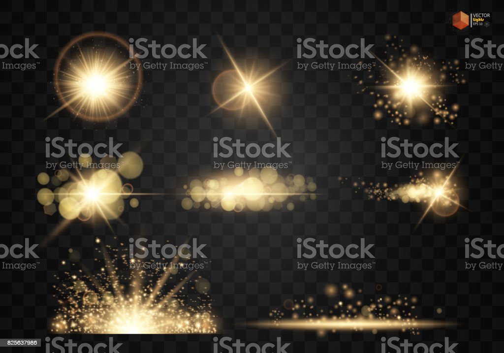 Set. Shining star, the sun particles and sparks with a highlight effect, color bokeh lights glitter and sequins.