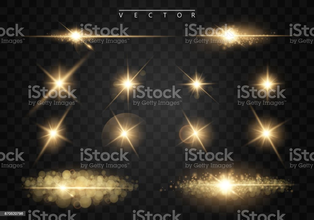Set. Shining star, the sun particles and sparks with a highlight effect, golden bokeh lights glitter and sequins. On a dark background transparent. Vector, EPS10 vector art illustration