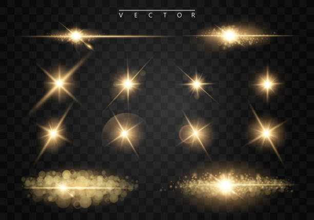 set. shining star, the sun particles and sparks with a highlight effect, golden bokeh lights glitter and sequins. on a dark background transparent. vector, eps10 - shiny stock illustrations, clip art, cartoons, & icons