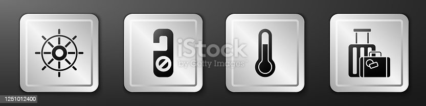 istock Set Ship steering wheel, Please do not disturb, Meteorology thermometer and Suitcase icon. Silver square button. Vector 1251012400