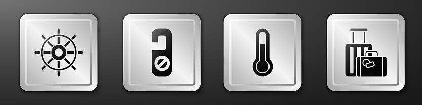 Set Ship steering wheel, Please do not disturb, Meteorology thermometer and Suitcase icon. Silver square button. Vector