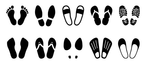 set shoeprints, barefoot, flutter - vector for stock - wysokie obcasy stock illustrations