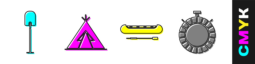 Set Shovel, Indian teepee or wigwam, Kayak or canoe and paddle and Canteen water bottle icon. Vector