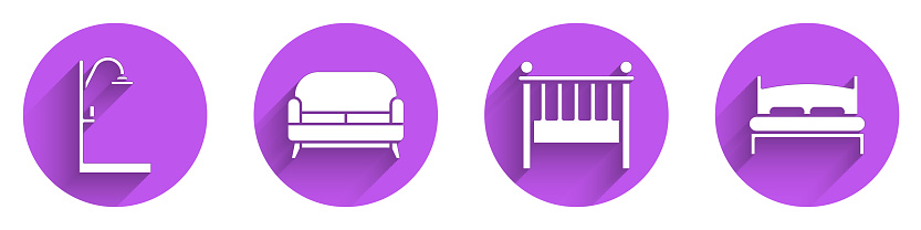 Set Shower, Sofa, Baby crib cradle bed and Big bed icon with long shadow. Vector