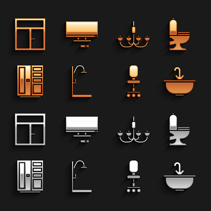 Set Shower, Toilet bowl, Washbasin with water tap, Office chair, Wardrobe, Chandelier, Window the room and Smart Tv icon. Vector