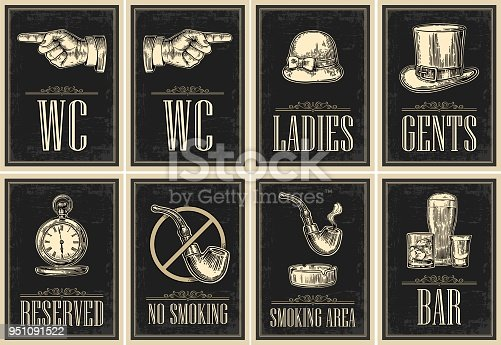 Set signboard. Pointing finger. Toilet retro vintage grunge poster for ladies, cents. The Sign No Smoking in Vintage Style. Vector engraved illustration on dark background. For bars, cafe, pub