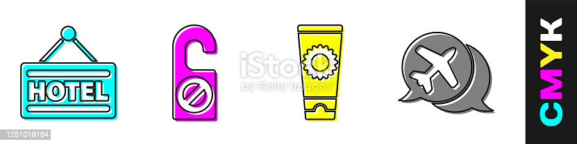 istock Set Signboard with text Hotel, Please do not disturb, Sunscreen cream in tube and Speech bubble with airplane icon. Vector 1251016154