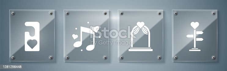 istock Set Signpost with heart, Wedding arch, Music note, tone with hearts and Please do not disturb with heart. Square glass panels. Vector 1281256448