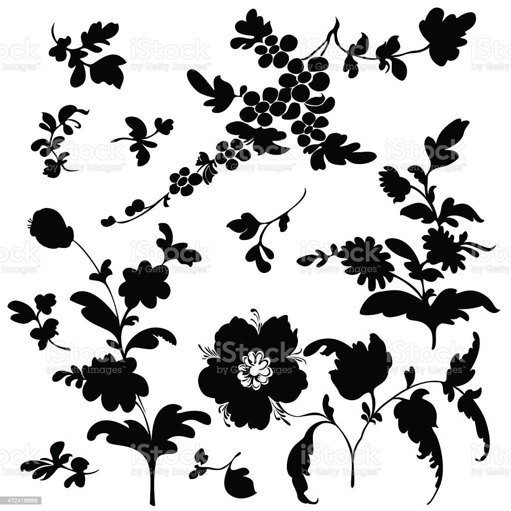 Black Flower Pattern Silhouette Stock Illustration: Set Silhouette Black Plant Flower Stock Vector Art & More