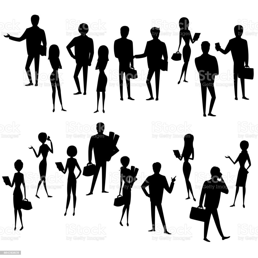 Set silhouette  businessmen and business women isolated royalty-free set silhouette businessmen and business women isolated stock vector art & more images of adult