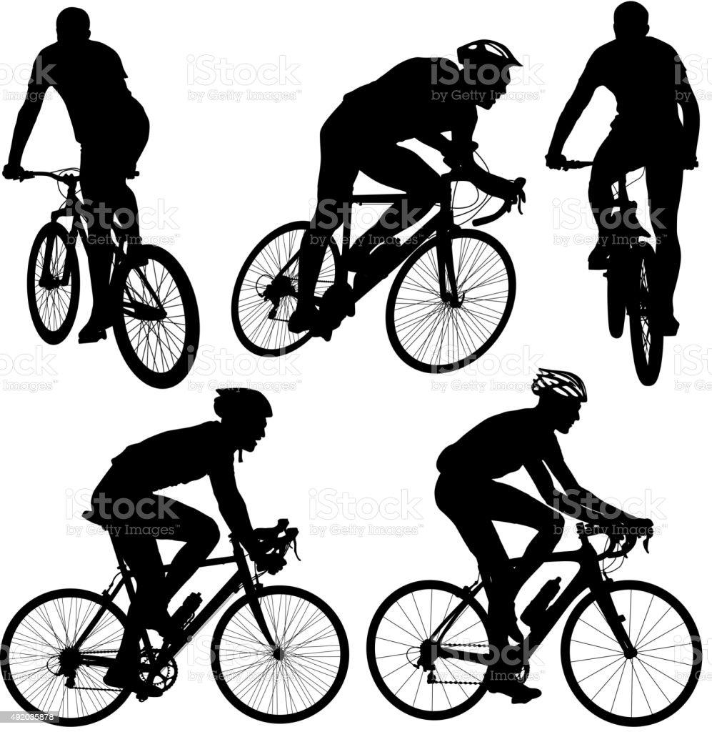 Conjunto de uma silhueta de um ciclista male. ilustração vetorial. - ilustração de arte vetorial