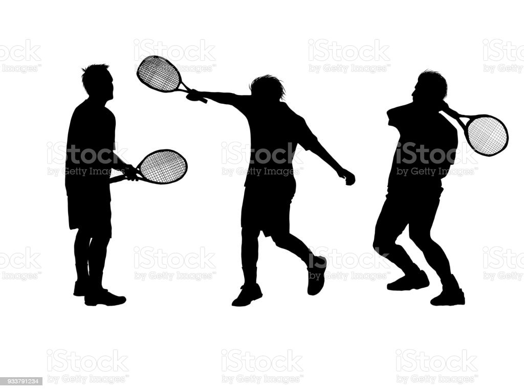set Silhouette of a tennis player on white background vector art illustration