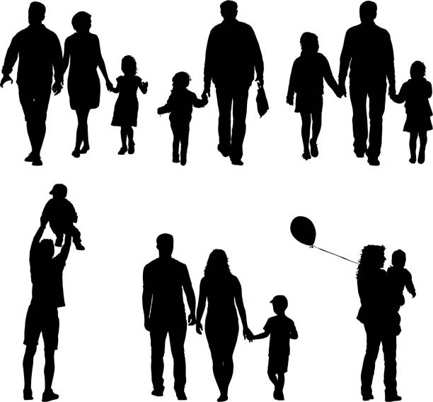 set silhouette of happy family on a white background. vector illustration - family stock illustrations, clip art, cartoons, & icons