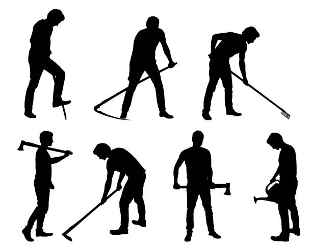 Set silhouette of young man - gardener or farmer with tools in different poses - vector Set silhouette of young man - gardener or farmer with tools in different poses - vector garden hoe stock illustrations