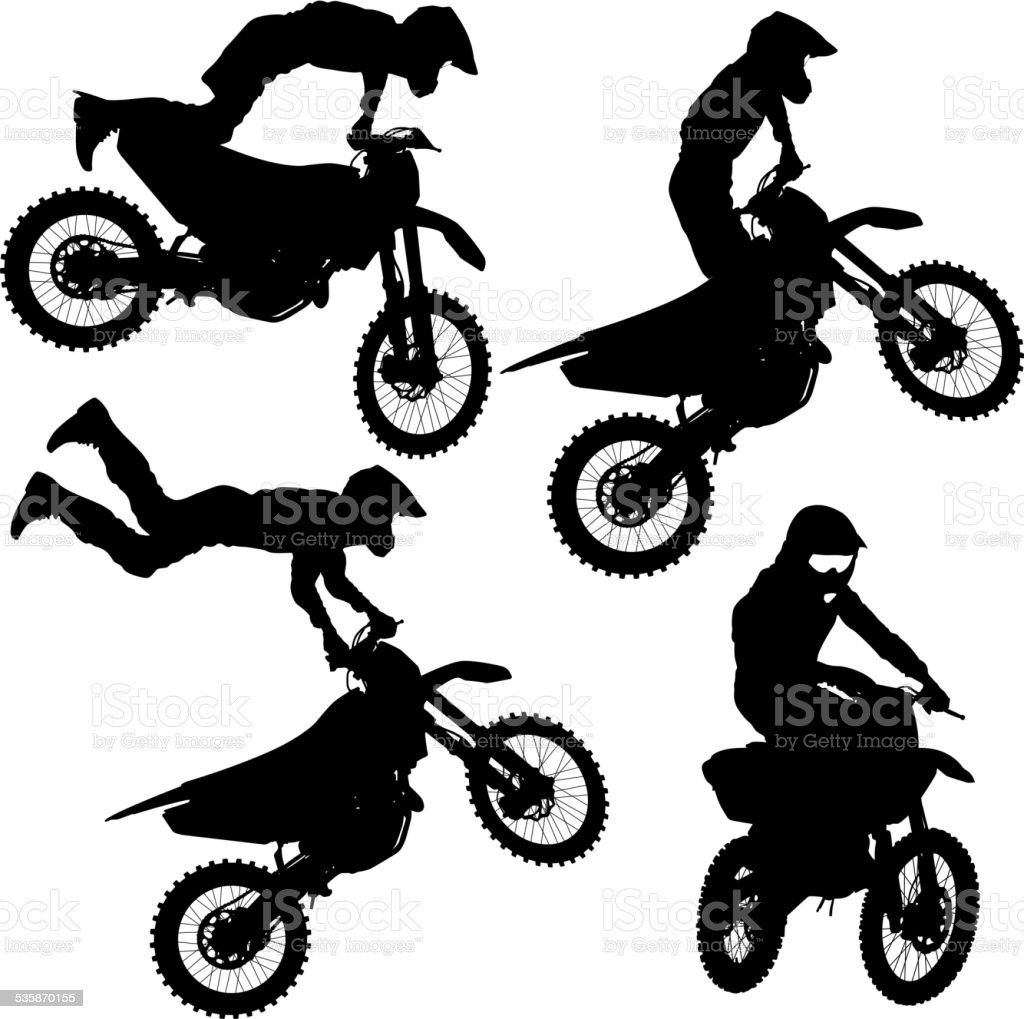 Set silhouettes Motocross rider on a motorcycle. vector art illustration
