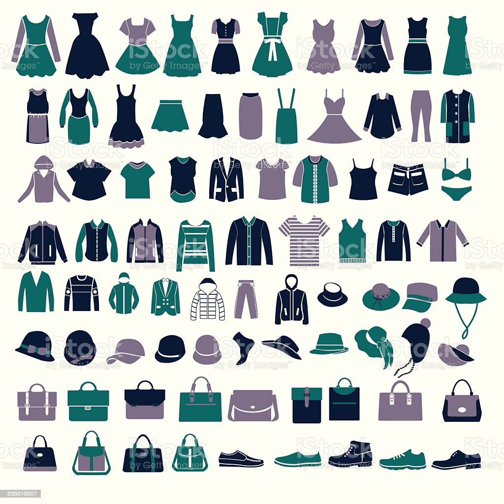 set silhouettes of fashion Collection Men's and Women Clothes vector art illustration