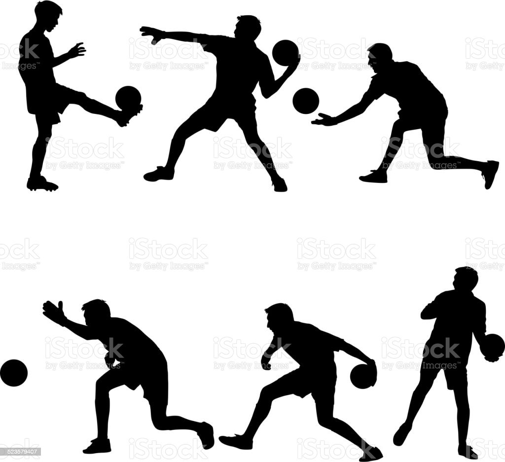Set silhouettes of soccer players with the ball. vector art illustration
