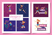 set six designs of girl power card with decoration vector illustration design