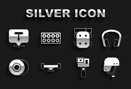 Set Skateboard wheel, Headphones, helmet, Action camera, Knee pads, T tool and icon. Vector