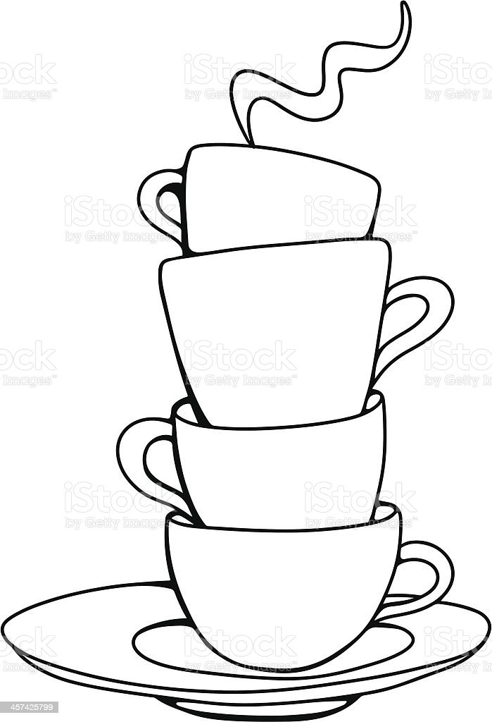Set Sketch Cups And Saucer Stock Illustration Download Image Now Istock