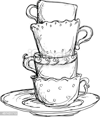 cups sketch saucer cup drawing drawings pencil tea vector sketches teacup clipart coffee stacked clip doodles teapot artwork draw illustrations