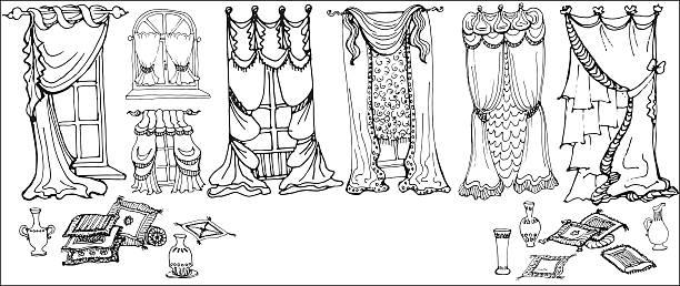 set  sketch - draperies black white - gesims stock-grafiken, -clipart, -cartoons und -symbole