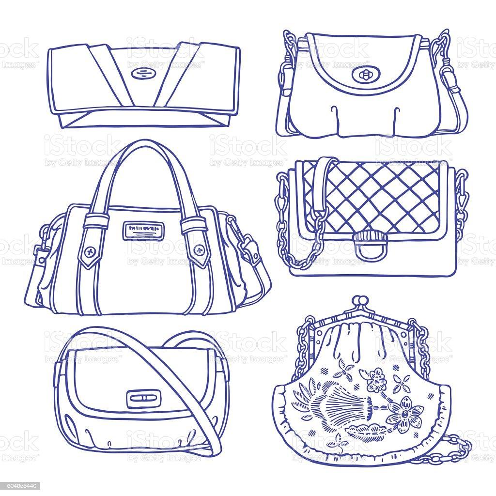 set sketch purple handbags vector art illustration