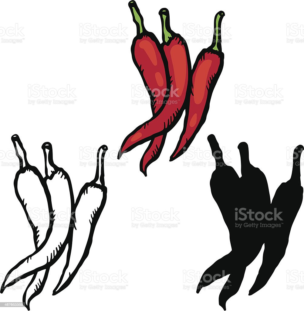 Set sketch red hot chili peppers royalty-free set sketch red hot chili peppers stock vector art & more images of black color
