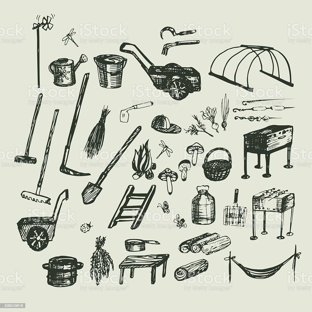 Set Sketch vector illustration, gardening, vacation and holidays royalty-free set sketch vector illustration gardening vacation and holidays stock vector art & more images of agriculture