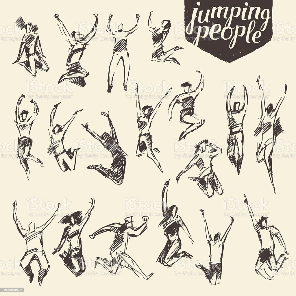 Set sketches silhouette jumping persons vector.