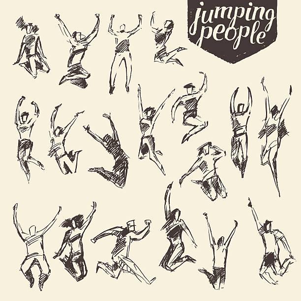 set sketches silhouette jumping persons vector. - kunstaktivitäten stock-grafiken, -clipart, -cartoons und -symbole