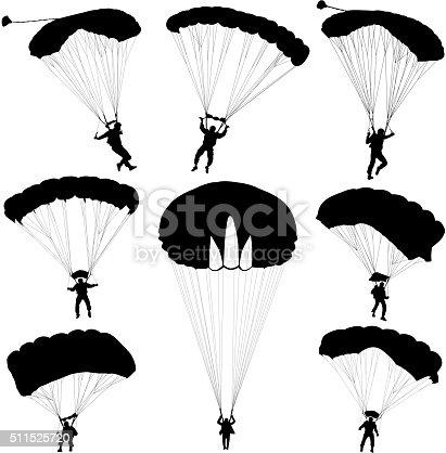 Set skydiver, silhouettes parachuting vector illustration
