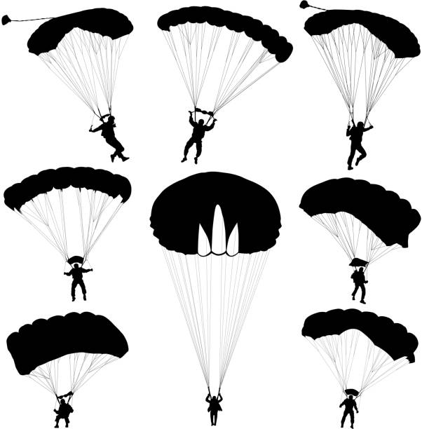 Set skydiver, silhouettes parachuting vector illustration Set skydiver, silhouettes parachuting vector illustration parachuting stock illustrations