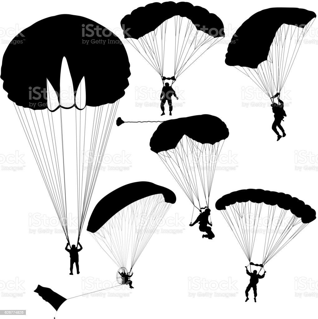 Set skydiver, silhouettes parachuting vector illustration vector art illustration