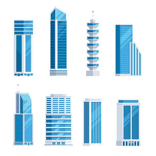 Set skyscrapers buildings Set skyscrapers buildings. Tower city business architecture apartment and office building for urban landscape. Vector illustration in trendy flat style isolated on white background tower stock illustrations
