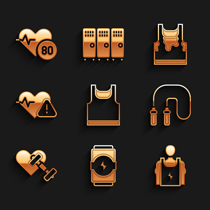 Set Sleeveless t-shirt, Energy drink, Bodybuilder, Jump rope, Dumbbell with heart, Heart rate, Sweaty sleeveless and icon. Vector