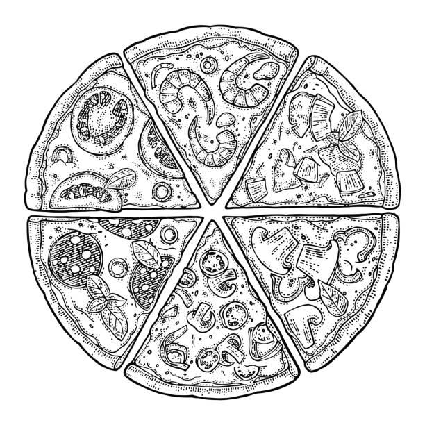 ilustrações de stock, clip art, desenhos animados e ícones de set slice pizza pepperoni, hawaiian, margherita, mexican, seafood, capricciosa. vintage vector engraving illustration for poster, menu, box. - inteiro