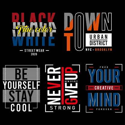 set slogan graphic typography for t shirt